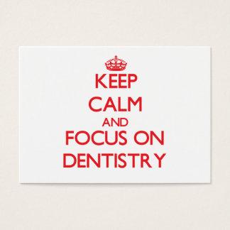 Gardez le calme et le foyer sur l'art dentaire cartes de visite