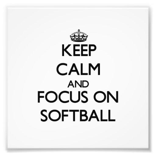 Gardez le calme et le foyer sur le base-ball tirages photo