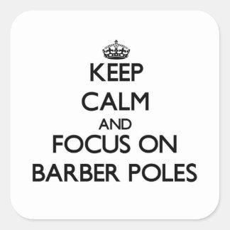Gardez le calme et le foyer sur le coiffeur stickers carrés