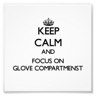 Gardez le calme et le foyer sur le gant Compartmen Tirage Photo