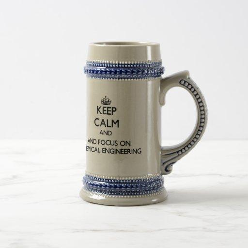 Gardez le calme et le foyer sur le génie chimique tasse à café