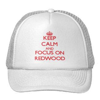 Gardez le calme et le foyer sur le séquoia casquette trucker