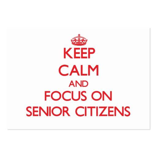 Gardez le calme et le foyer sur les vieillards cartes de visite professionnelles