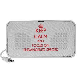 Gardez le calme et le foyer sur l'ESPÈCE MENACÉE Haut-parleur iPod