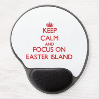 Gardez le calme et le foyer sur l'île de Pâques Tapis De Souris En Gel
