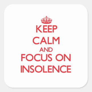 Gardez le calme et le foyer sur l'insolence autocollants carrés