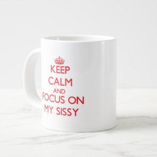 Gardez le calme et le foyer sur ma poule mouillée mug jumbo