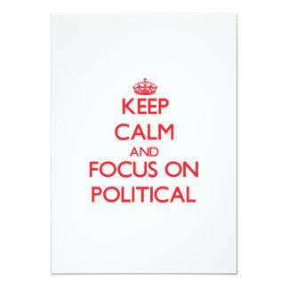 Gardez le calme et le foyer sur politique carton d'invitation  12,7 cm x 17,78 cm
