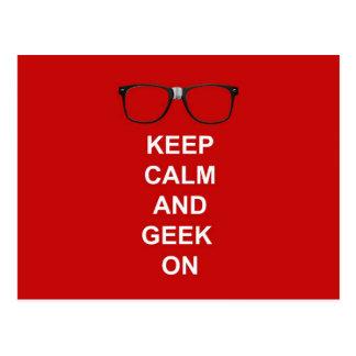 Gardez le calme et le geek dessus carte postale