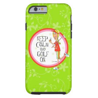gardez le calme et le golf sur le cas dur de coque iPhone 6 tough
