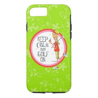 gardez le calme et le golf sur le cas dur de coque iPhone 7