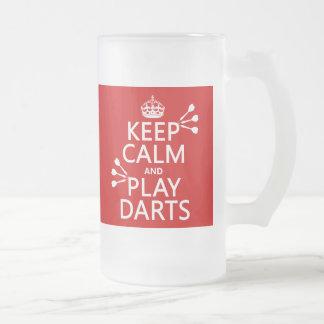 Gardez le calme et le jeu darde (couleur mug en verre givré