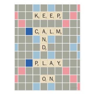 Gardez le calme et le jeu dessus carte postale