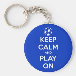 Gardez le calme et le jeu sur le bleu porte-clé rond