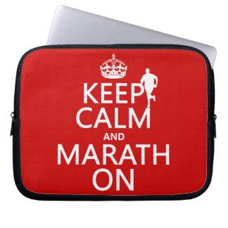 Gardez le calme et le Marath dessus Protection Pour Ordinateur Portable
