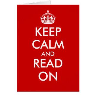 Gardez le calme et lisez sur des cartes de voeux
