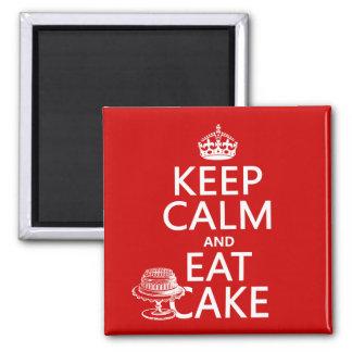 Gardez le calme et mangez le gâteau les couleurs aimant pour réfrigérateur