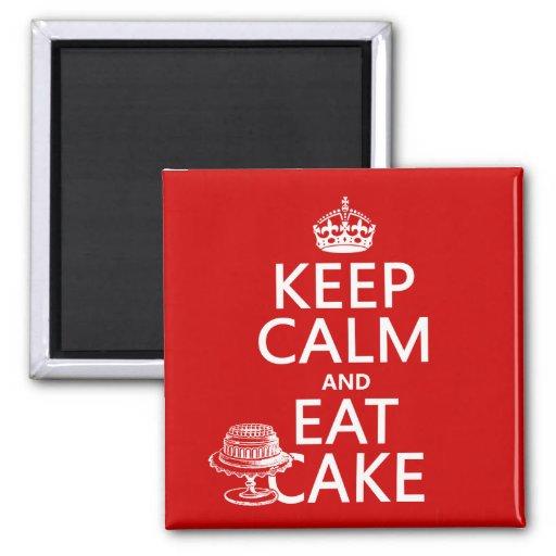 Gardez le calme et mangez le gâteau (les couleurs  aimant pour réfrigérateur