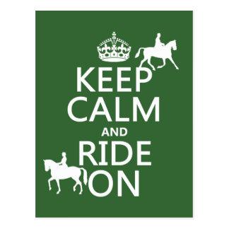 Gardez le calme et montez dessus - les chevaux, carte postale