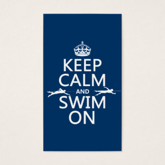 Gardez le calme et nagez sur (dans toute couleur) cartes de visite