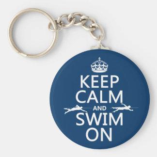 Gardez le calme et nagez sur (dans toute couleur) porte-clés