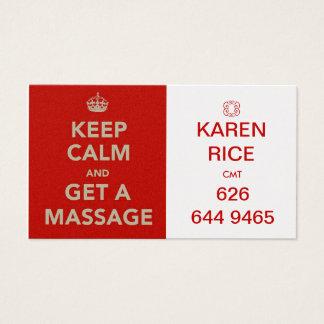 gardez le calme et obtenez un massage II Cartes De Visite