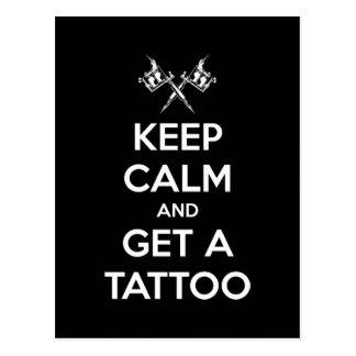Gardez le calme et obtenez un tatouage carte postale