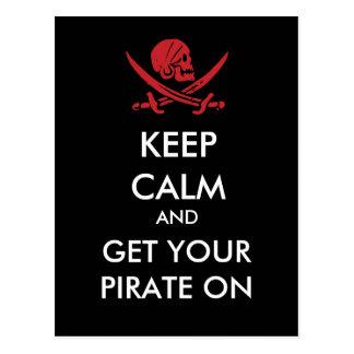Gardez le calme et obtenez votre pirate sur la carte postale
