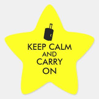 Gardez le calme et perpétuez la coutume de voyage autocollant en étoile