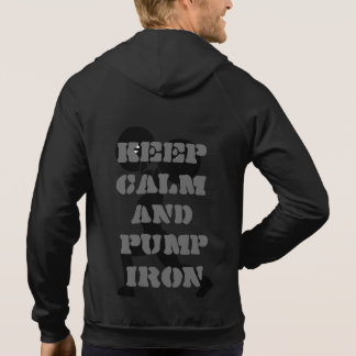 Gardez le calme et pompez la forme physique de fer veste à capuche