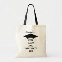 Gardez le calme et recevez un diplôme dessus sac en toile budget