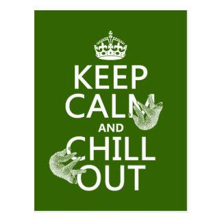 Gardez le calme et refroidissez (paresse) (toute carte postale
