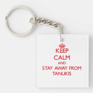 Gardez le calme et restez à partir de Tanukis Porte-clé Carré En Acrylique Double Face