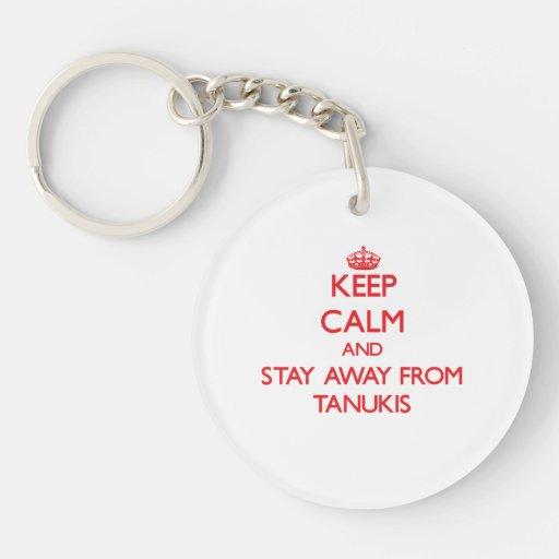 Gardez le calme et restez à partir de Tanukis Porteclés