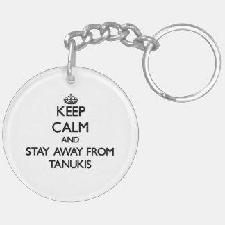 Gardez le calme et restez à partir de Tanukis Porte-clé Rond En Acrylique Double Face