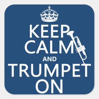 Gardez le calme et sonnez de la trompette sur tou autocollants
