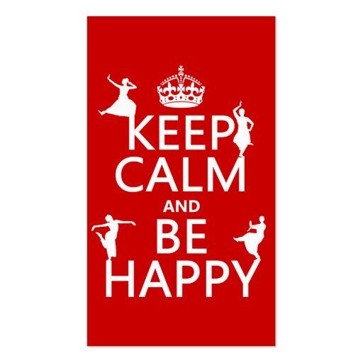 Gardez le calme et soyez heureux (la danse) (perso modèles de cartes de visite