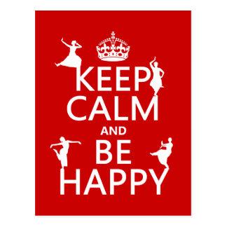 Gardez le calme et soyez heureux la danse perso carte postale