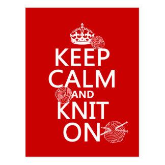 Gardez le calme et tricotez dessus - toutes les co carte postale
