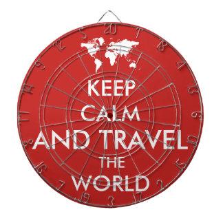 Gardez le calme et voyagez le monde jeu de fléchettes