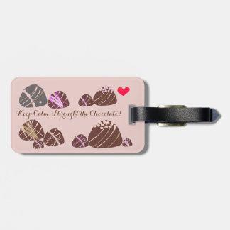 Gardez le calme, j'a apporté le chocolat ! étiquettes bagages