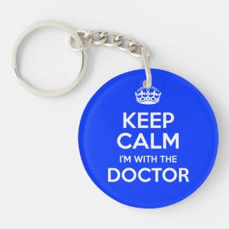 Gardez le calme que je suis avec le docteur (avec porte-clé rond en acrylique double face