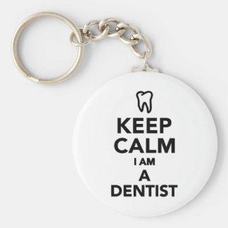 Gardez le calme que je suis un dentiste porte-clé rond