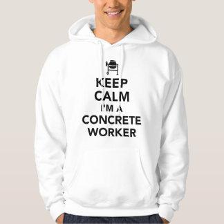 Gardez le calme que je suis un travailleur concret veste à capuche