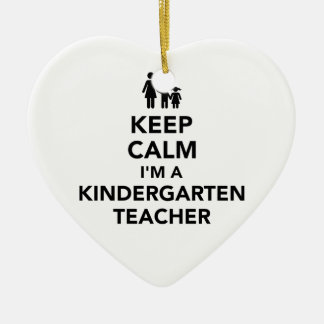 Gardez le calme que je suis une institutrice ornement cœur en céramique