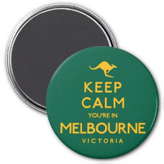 Gardez le calme que vous êtes à Melbourne ! Magnet Rond 7,50 Cm