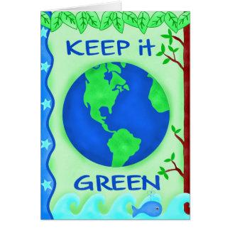 Gardez-le carte de voeux verte de jour de la terre