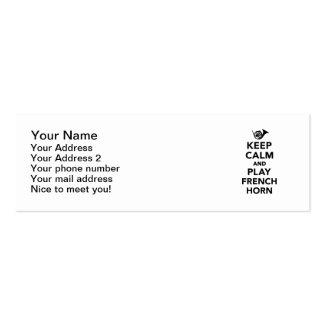 Gardez le cor de harmonie de calme et de jeu cartes de visite professionnelles