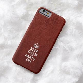 Gardez le cuir rouge de calme et de partie dessus coque iPhone 6 barely there