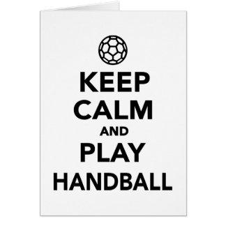 Gardez le handball de calme et de jeu carte de vœux